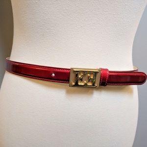 ESCADA Red Patent Leather Monogram Belt